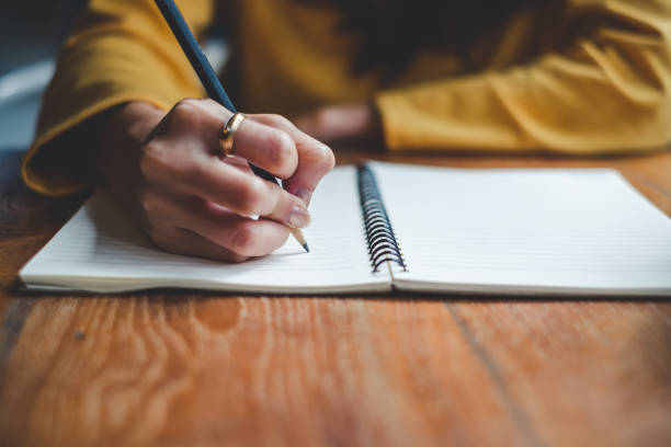 Close Up Woman Hand Writing