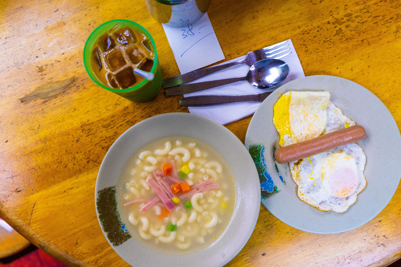 Breakfast set at Lan Fong Yuen; Central, Hong Kong. 2019.